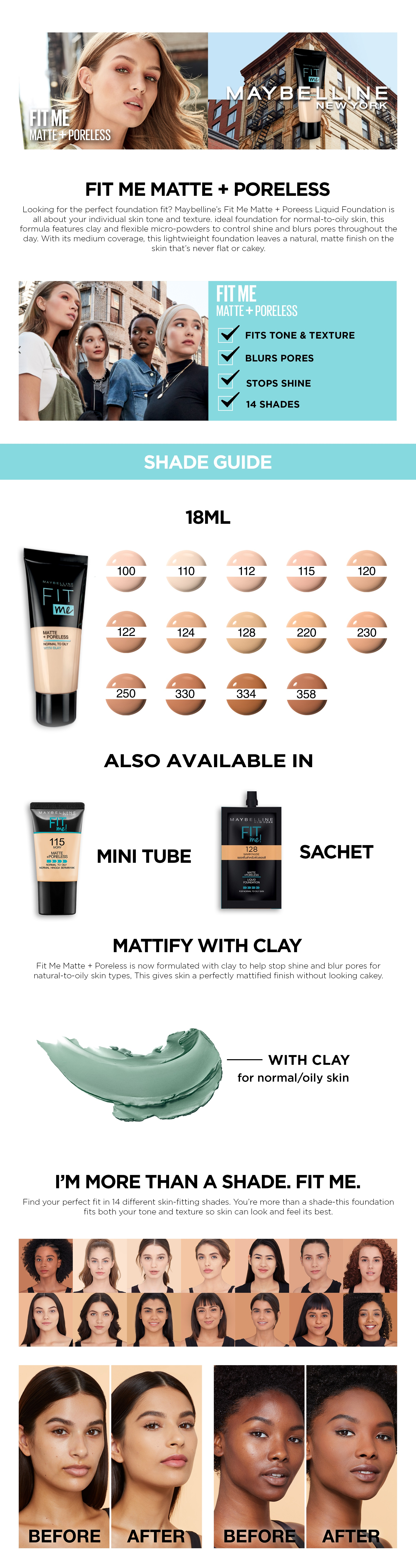 Maybelline Fit Me Matte Poreless Foundation 30 ml
